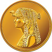 stock photo of cleopatra  - Arab Republic of Egypt the coin of fifty piastres shows the queen Cleopatra - JPG