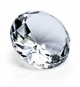 Beautiful Shiny Diamond, Isolated On White Background. Clear Or Transparent Diamond, Close-up Shot. poster