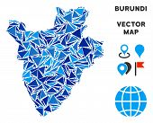 Burundi Map Collage Of Blue Triangle Items In Different Sizes And Shapes. Vector Polygons Are Groupe poster