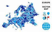 Europe Map Collage Of Blue Triangle Items In Variable Sizes And Shapes. Vector Polygons Are Arranged poster