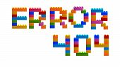 The Inscription Error 404 From The Blocks Of The Constructor. A Word From The Constructor. Multicolo poster