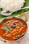 stock photo of kadai  - sambar in kadai and rice - JPG