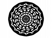 Black Scale Mandala On White Background. Mandala With Move Illusion Vector. Round Stamp Template. Ci poster