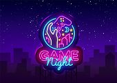Game Night Neon Sign Vector Logo Design Template. Game Night Logo In Neon Style, Gamepad Hand, Video poster