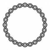 Round Frame Braided Cable, Wavy Intersecting Lines In A Circle, Vector Vignette Pattern Decoration,  poster