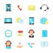 Call Center Symbols. Various Vector Icon Set Of Call Center. Illustration Of Phone Support, Business poster