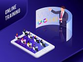 Isometric Concept Online Training. 3d Training With People On Smartphone. People At Business Trainin poster