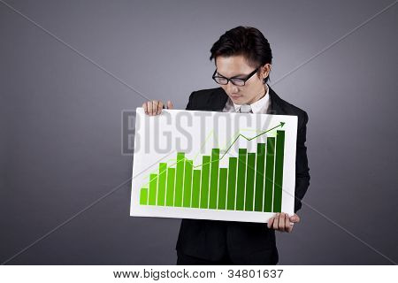 Businessman With Green Business Chart