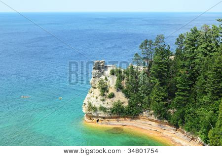 Kayakers By Miners Castle At Pictured Rocks National Lakeshore
