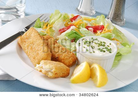Breaded Fish Sticks And Salad