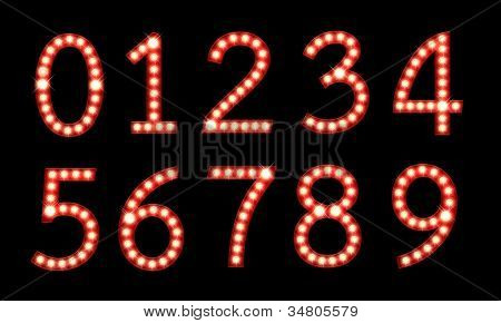 Set of broadway light bulb numbers isolated