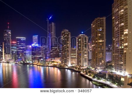 Brisbane City Night Skyline