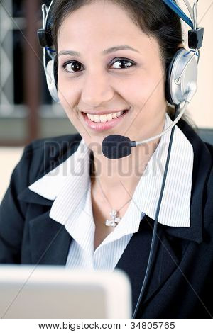 Business Woman With Headset