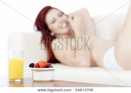 Fresh Breakfast With Woman In Background