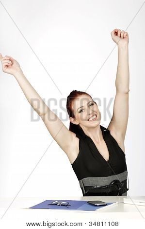 Woman Celebrating At Work