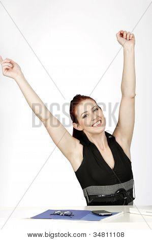 Woman Celebrating At Work