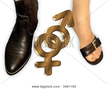Gender Symbols And Feet In Shoes