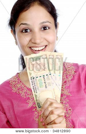 Happy Woman Holding Currency Notes