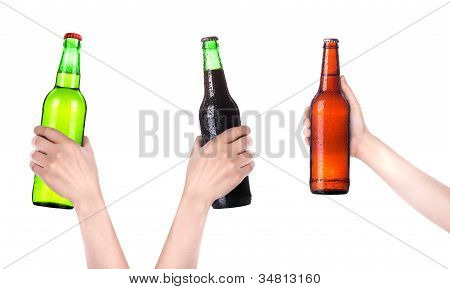 Collection Of Isolated Hands With Beer Bottle Making A Toast