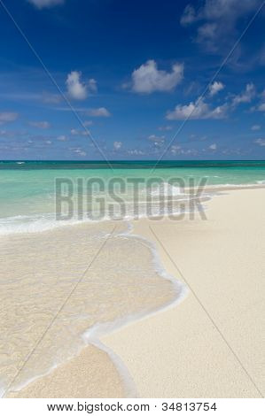 Tropical Sandy Beach At Summer Day, Vertical Composition