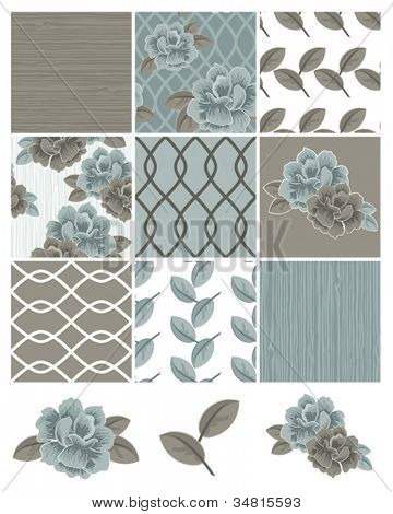 Flower Vector Seamless Patterns and Icons.  Use to create digital paper for craft projects or patchwork pieces for fabric.