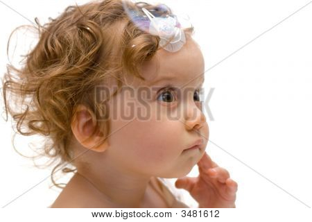 Cute Baby Girl Portrait, Isolated