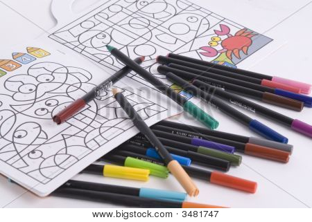 A Lot Of Crayons And A Book