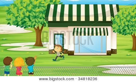 illustration of a tent house and kids on the green grass