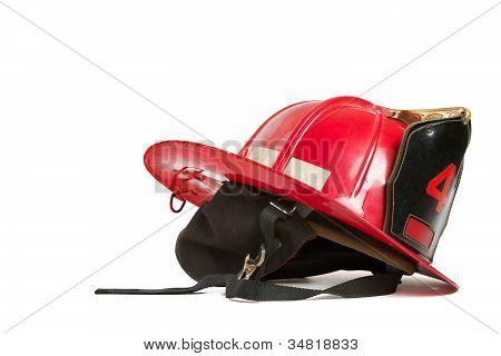 Vintage red fire fighters helmet