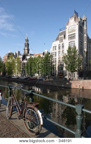 Bicycle On Amsterdam Canal