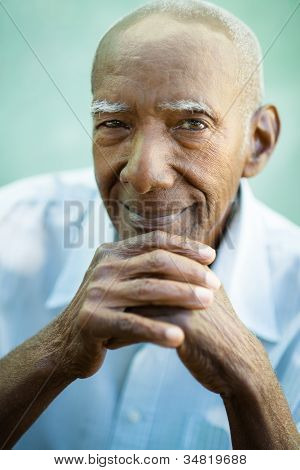 Closeup Of Happy Old Black Man Smiling At Camera