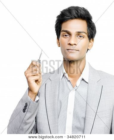 Businessman Holding Key To Success