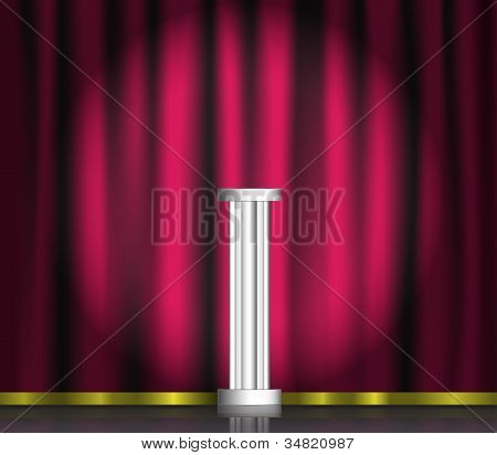 Pink Curtain And Pedestal On Stage