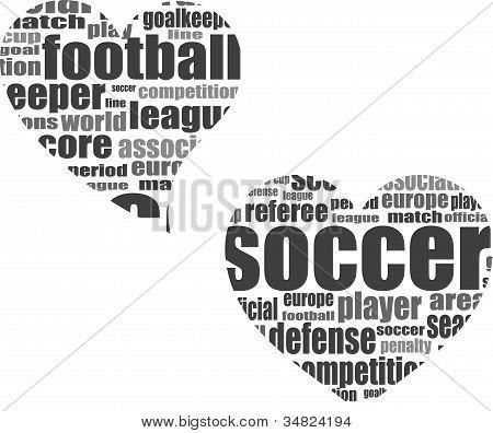 Fútbol palabra concepto de nube en forma de corazón