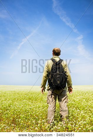 Man Rest On Green Field