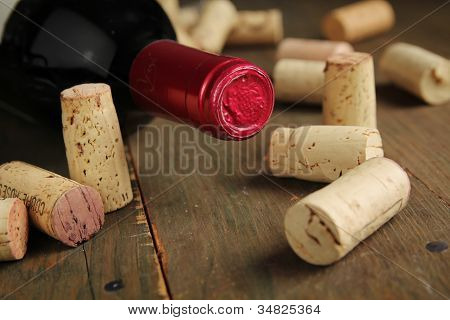 Cork Wine And Bottle Of Wine