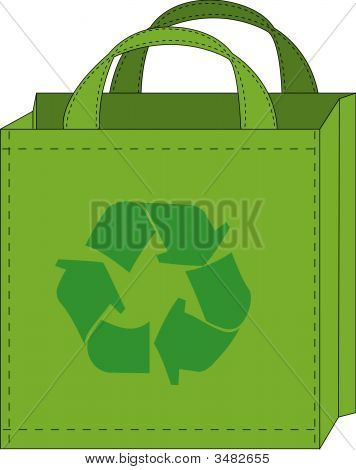 Shopping Bag With Recycle Symbol.