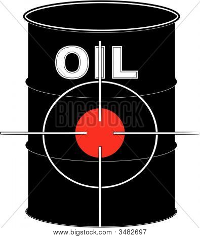 Barrel Black Oil With Crosshair Target.