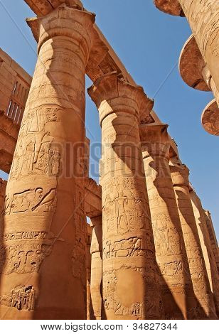 Magnificent Columns Of The Great Hypostyle Hall At The Temples Of Karnak (ancient Thebes). Luxor, Eg