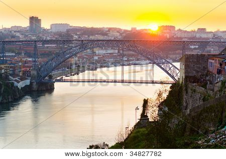 view of Dom Luis I bridge at Porto, Portugal
