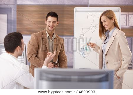 Team of young businesspeople working together, woman presenting, smiling.