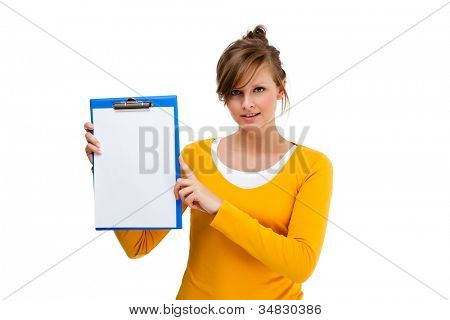 Woman holding notepad isolated on white background