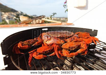 crab on charcoal grill