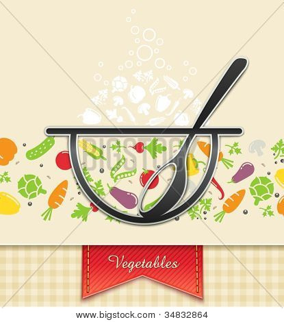 plate with vegetable, food background vector illustration EPS10. Transparent objects and opacity masks used for shadows and lights drawing