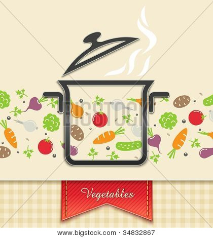 pan with vegetable, food background vector illustration EPS10. Transparent objects and opacity masks used for shadows and lights drawing