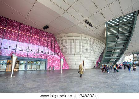 PARIS - JUNE 06: Exterior view on Congress Palace (Palais des Congres de Paris) in Paris, France on June 6, 2012. The Palace is a concert venue and convention center and was built by Guillaume Gillet.