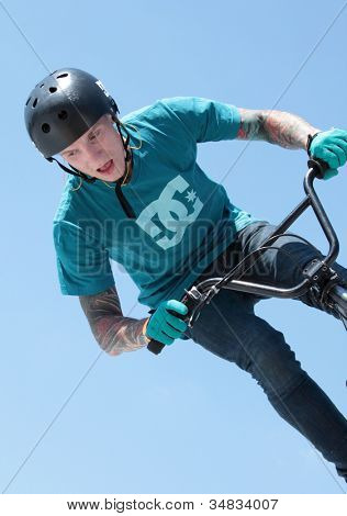 MOSCOW, RUSSIA - JULY 8: Pavel Terentiev, Russia, in BMX competitions during Adrenalin Games in Moscow, Russia on July 8, 2012