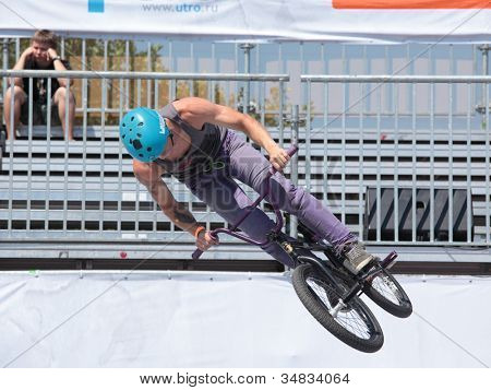 MOSCOW, RUSSIA - JULY 8: Maxim Novoselov, Russia, in BMX competitions during Adrenalin Games in Moscow, Russia on July 8, 2012