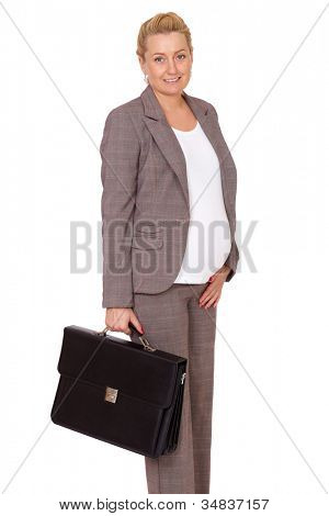 Pregnant businesswoman isolated on white, holds black briefcase