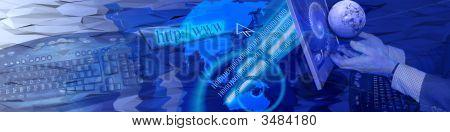Bandera de la tecnología y las conexiones de Internet de Ww rápido